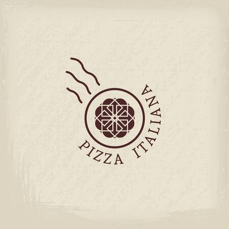 Pizzeria logo template with text Italian pizza in Italian.  emblems for restaurants, cafe, Italian Cuisine or pizza delivery
