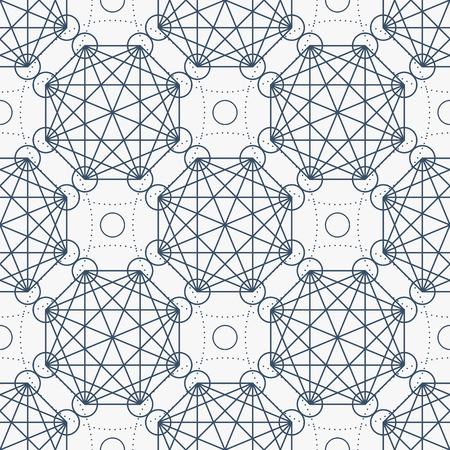 arcanum: Geometric seamless texture. Vector linear mystical pattern on white background Illustration