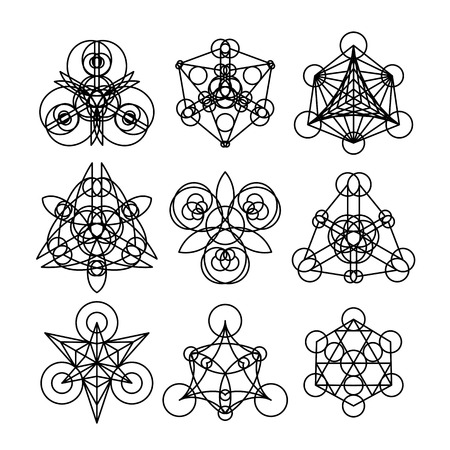 arcanum: Linear geometric ornaments. Vector abstract symbols isolated on white