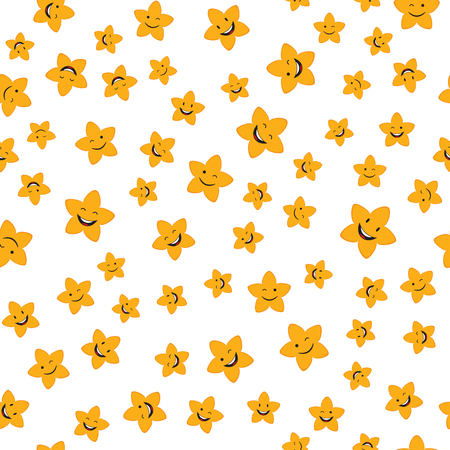 Seamless pattern with cartoon smiley stars. Vector childish background