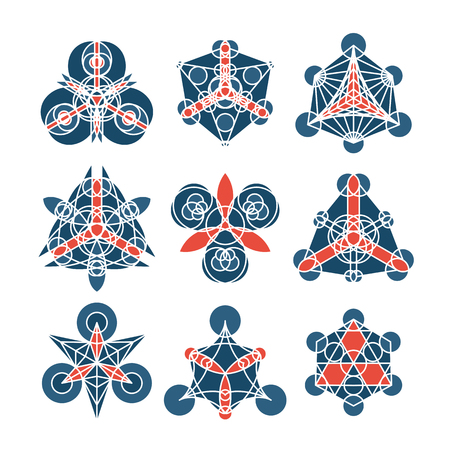 arcanum: Mosaic geometric ornaments. Vector abstract symbols isolated on white