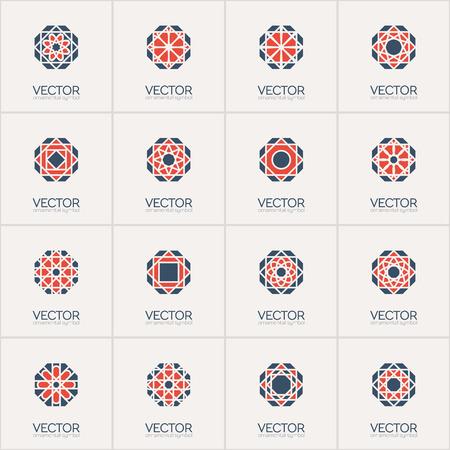 octagonal: Geometric octagonal logo template set. Vector mosaic arabic ornamental symbols Illustration