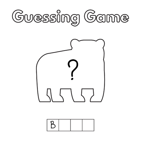 and guessing: Cartoon Bear Guessing Game. Illustration