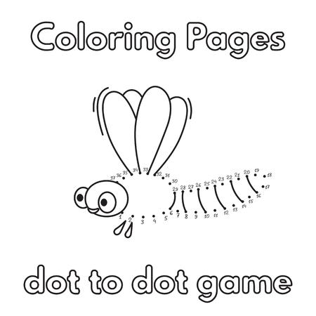 Libro Para Colorear Libélula De Dibujos Animados Ilustraciones ...