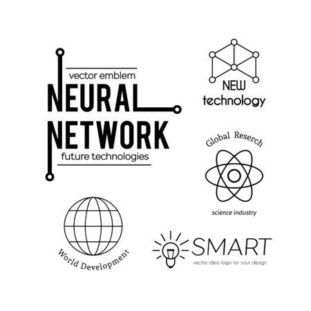globe logo: Vector science and new technologies logo set