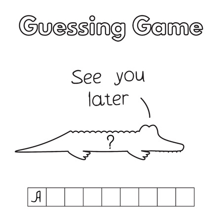 and guessing: Cartoon Alligator Guessing Game Illustration