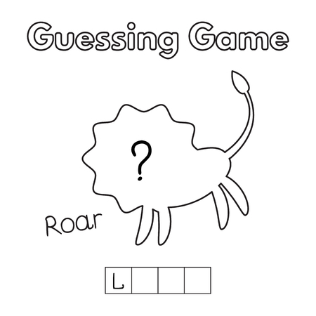 and guessing: Cartoon Lion Guessing Game Illustration