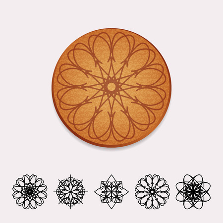 plant stand: Vector Ornamental Cork Beer Coaster Illustration
