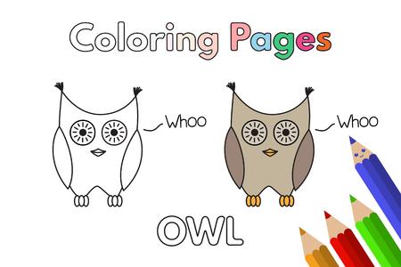 Ilustración De Dibujos Animados Cuervo. Vector Páginas De Libro Para ...