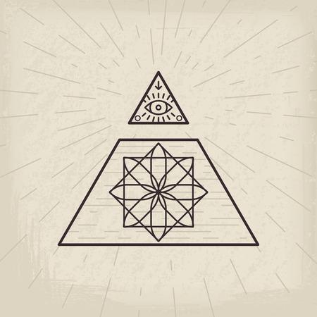 All Seeing Eye And Magic Circular Symbol Inside Triangle Pyramid