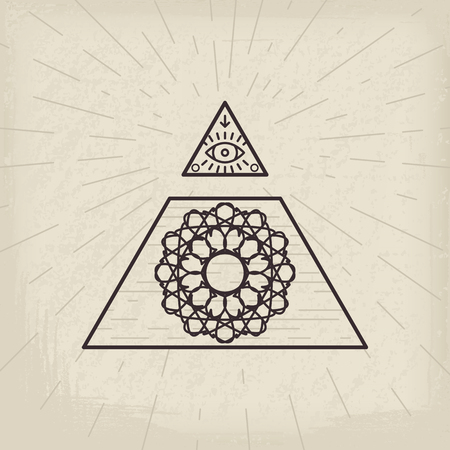 All seeing eye and magic circular symbol inside triangle pyramid. Illustration