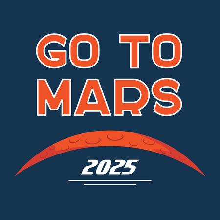 Go to Mars vector cartoon poster vector illustration.