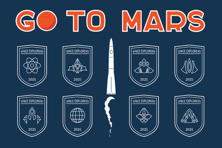 Go to Mars vector badges set