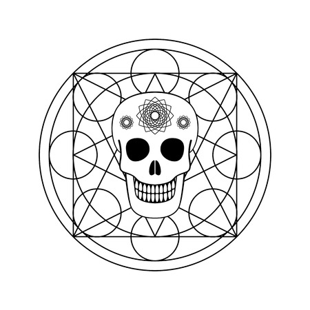 Ornamental skull and geometric symbol for Day of The Dead emblem, design print. Illustration