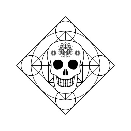 Ornamental Skull with Geometric Symbol Stock Photo