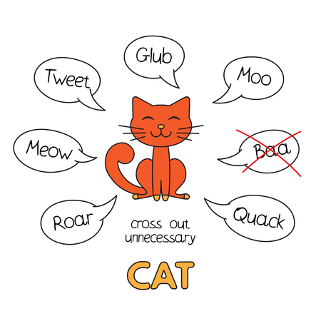 Cartoon cat kids learning game, vector illustration.
