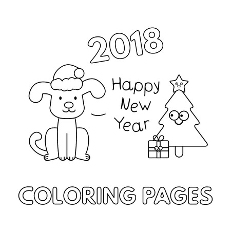 christmas coloring pages with cartoon dog vector illustration stock vector 91010261