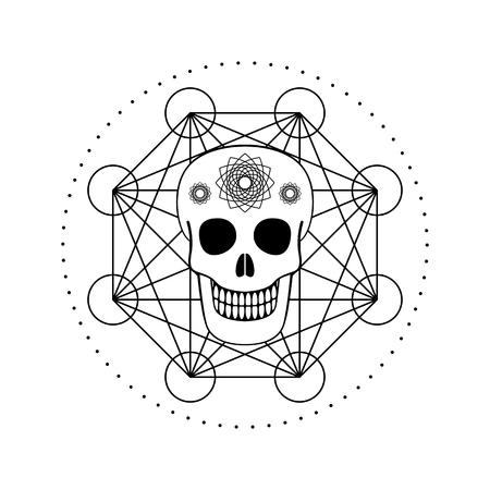 Ornamental Skull with Geometric Symbol Illustration