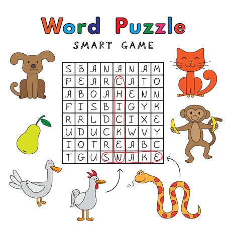Funny Animals Word Puzzle Smart Game Фото со стока