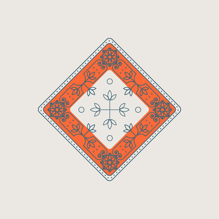 Vector line art ornament with orange lining and floral design