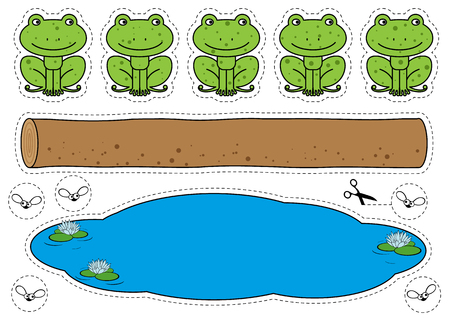 Five Little Speckled Frogs Game 矢量图像