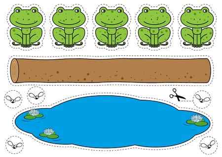 Gra Five Little Speckled Frogs Ilustracje wektorowe