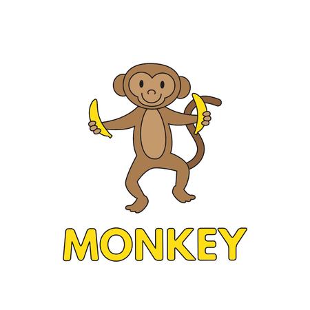 Cartoon Monkey Flashcard for Children