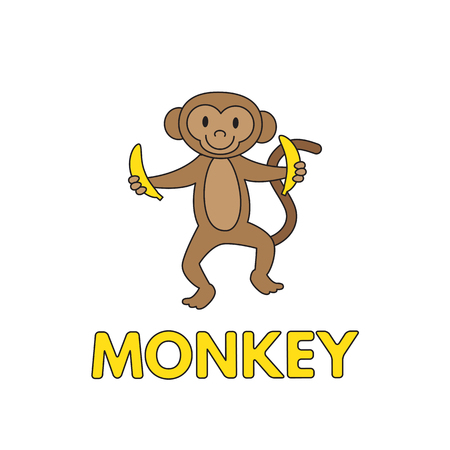 Cartoon Monkey Flashcard for Children