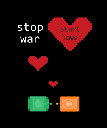 Vector retro game poster with tanks and hearts