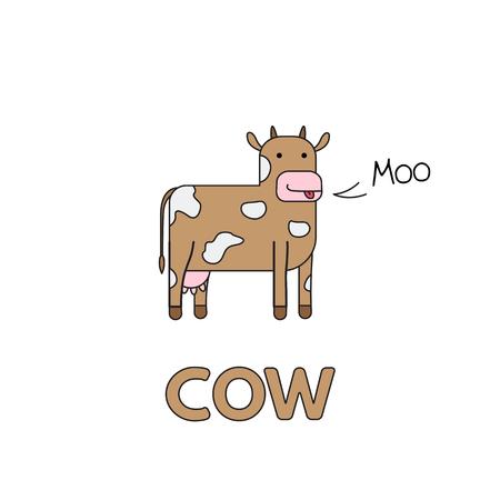 Cartoon Cow Flashcard for Children Vectores
