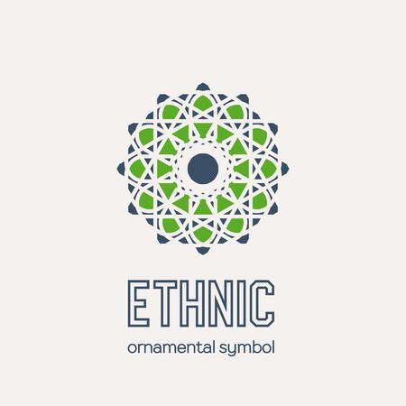 Mosaic arabic ornament. Vector circular emblem for ornamental design.