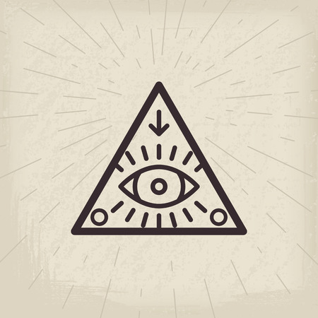 All seeing eye vintage background isolated illustration Vectores