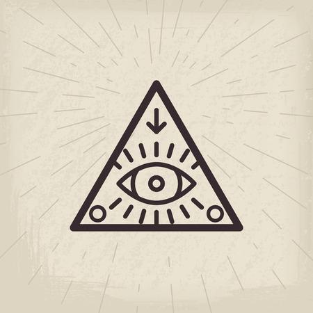 All seeing eye vintage background isolated illustration Illustration