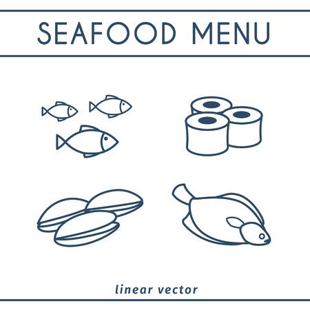 Fresh seafood vector icons set. Illustration