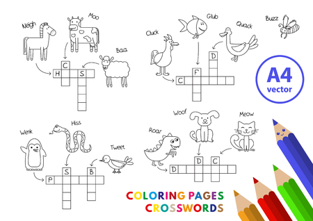 Funny Animals Coloring Book Crosswords illustration. Ilustração