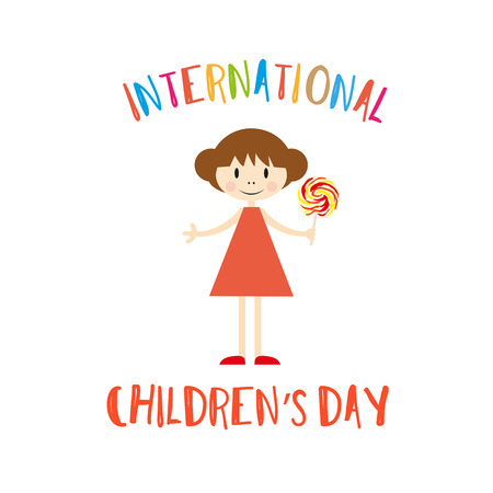 Happy Children's Day Greeting Card with Girl. Vettoriali