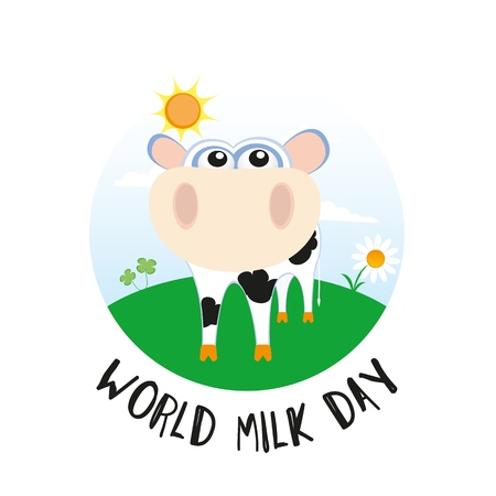 World Milk Day Vector Design with Cow
