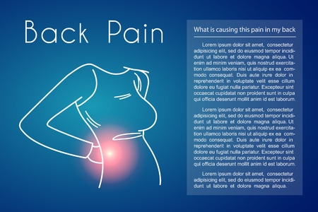 Back Pain Vector Background with Woman