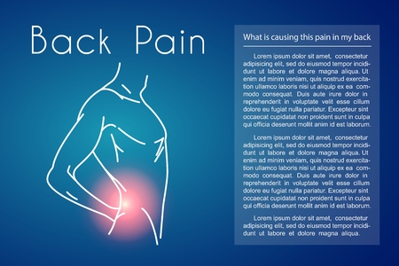 Back Pain Vector Background with Man Illustration