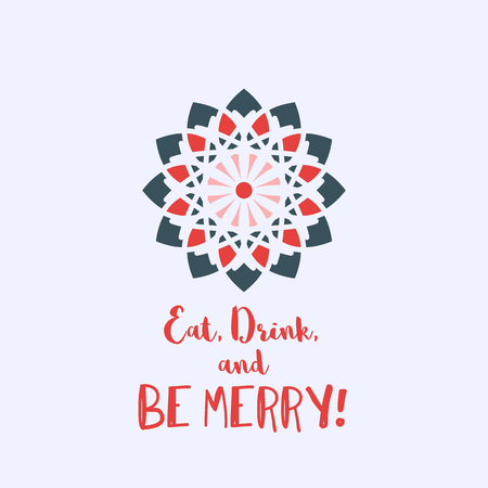 Christmas greeting card with geometric ornament and text