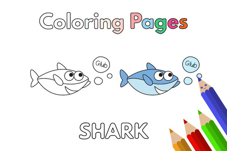 Cartoon shark illustration. Vector coloring book pages for children