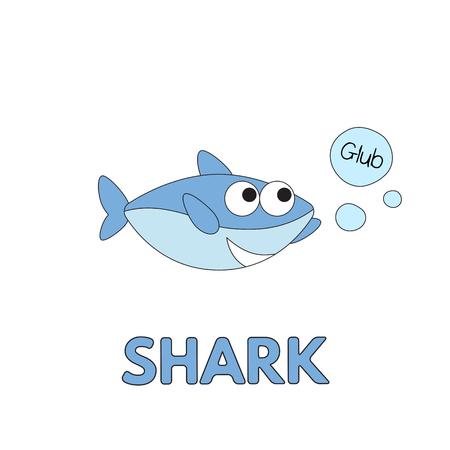 Cartoon shark flashcard. Vector illustration for children education