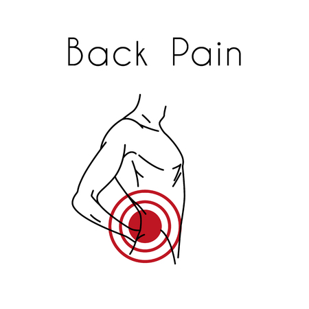 Man touching back in pain area. Backache illustration for medicine or presentation  イラスト・ベクター素材