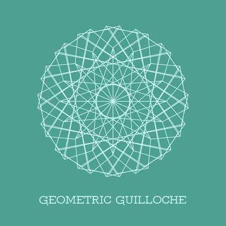 Circular guilloche decorative element. Vector geometric rosette for vouchers, diplomas and certificates