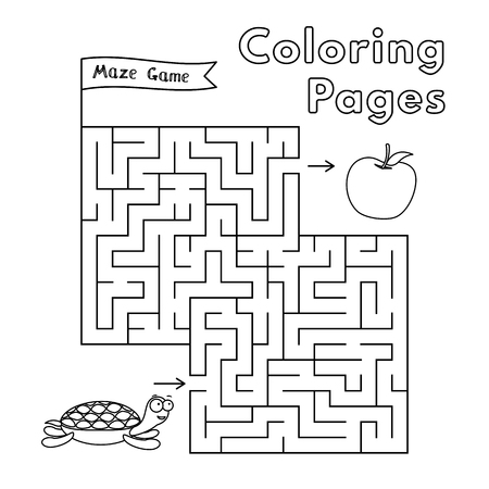 Cartoon turtle maze game. Vector coloring book pages for children