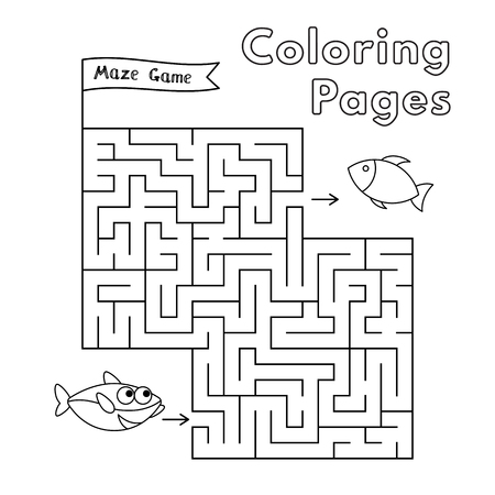 Cartoon shark maze game. Vector coloring book pages for children Ilustrace