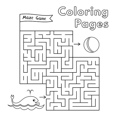 Cartoon whale maze game. Vector coloring book pages for children Ilustrace