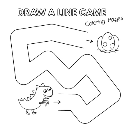 Cartoon dinosaur game for small children - draw a line. Vector coloring book pages for kids Vectores