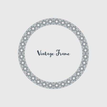 Vintage circular frame of mosaic border. Vector retro design elements and filigree decorations