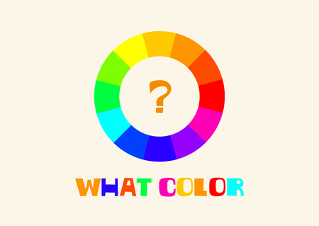 Illustration of color wheel with twelve colors in gradations. Vector background